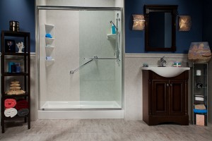 White-Shower-Base-with-Roman-Stone-Smooth-Walls-Clear-Glass-Door-with-Satin-Chrome-Frame-and-Fixtures_Photo2_IMG_1185_HR_bci